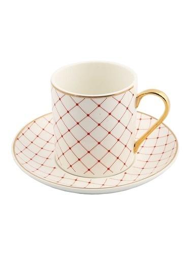 Vitale Style 6'lı Kırmızı Kareli Kahve Fincan Takımı Renkli